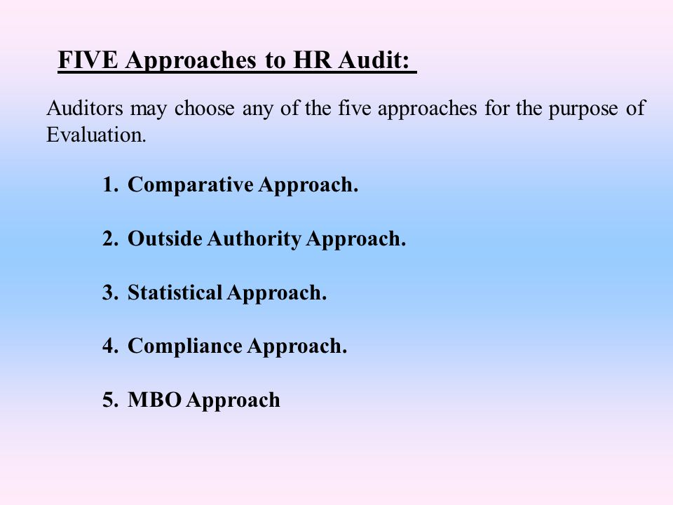 FIVE Approaches to HR Audit:
