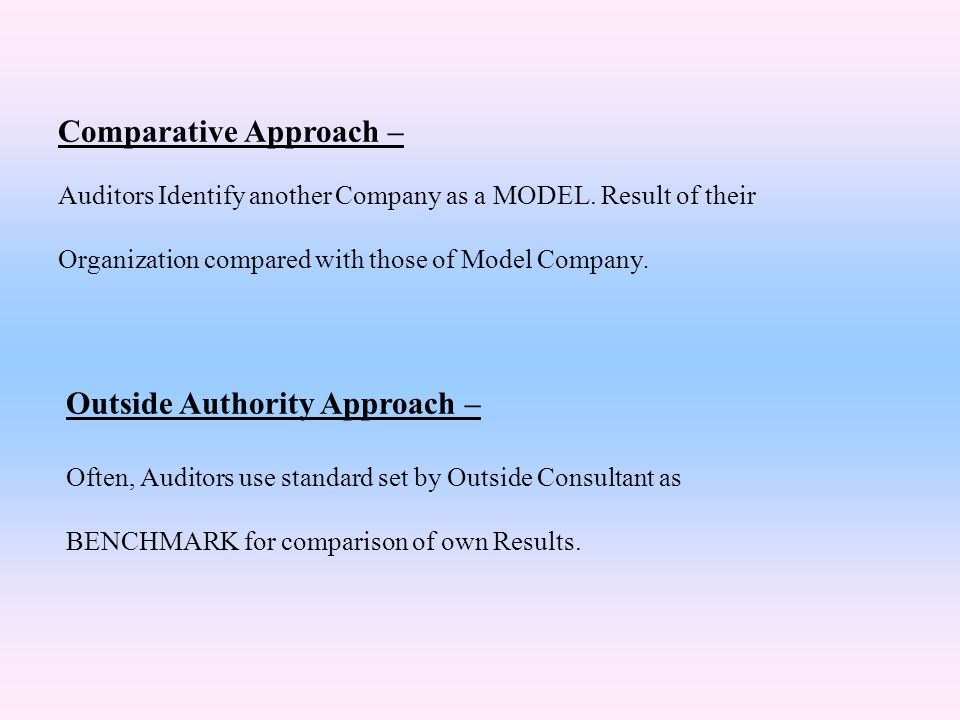 Comparative Approach –