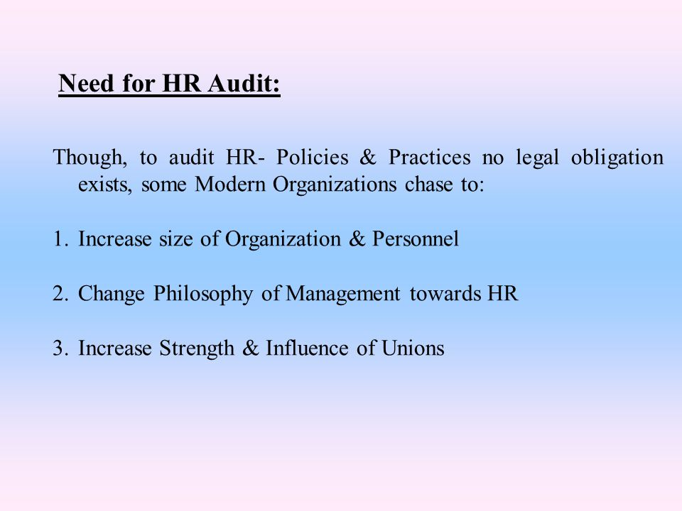 Need for HR Audit: Though, to audit HR- Policies & Practices no legal obligation exists, some Modern Organizations chase to: