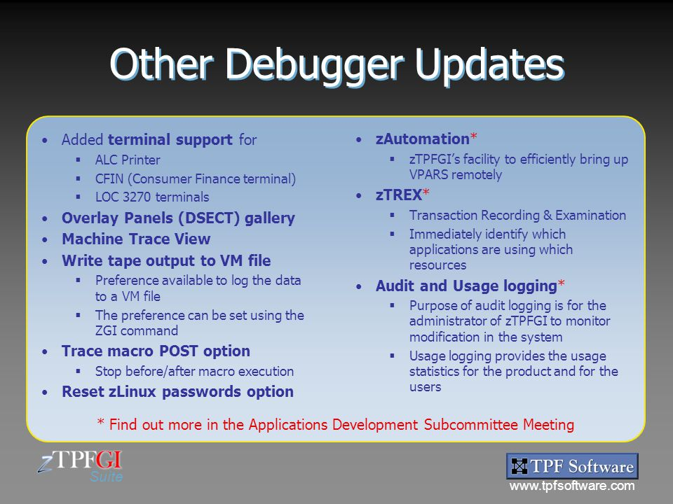 Other Debugger Updates