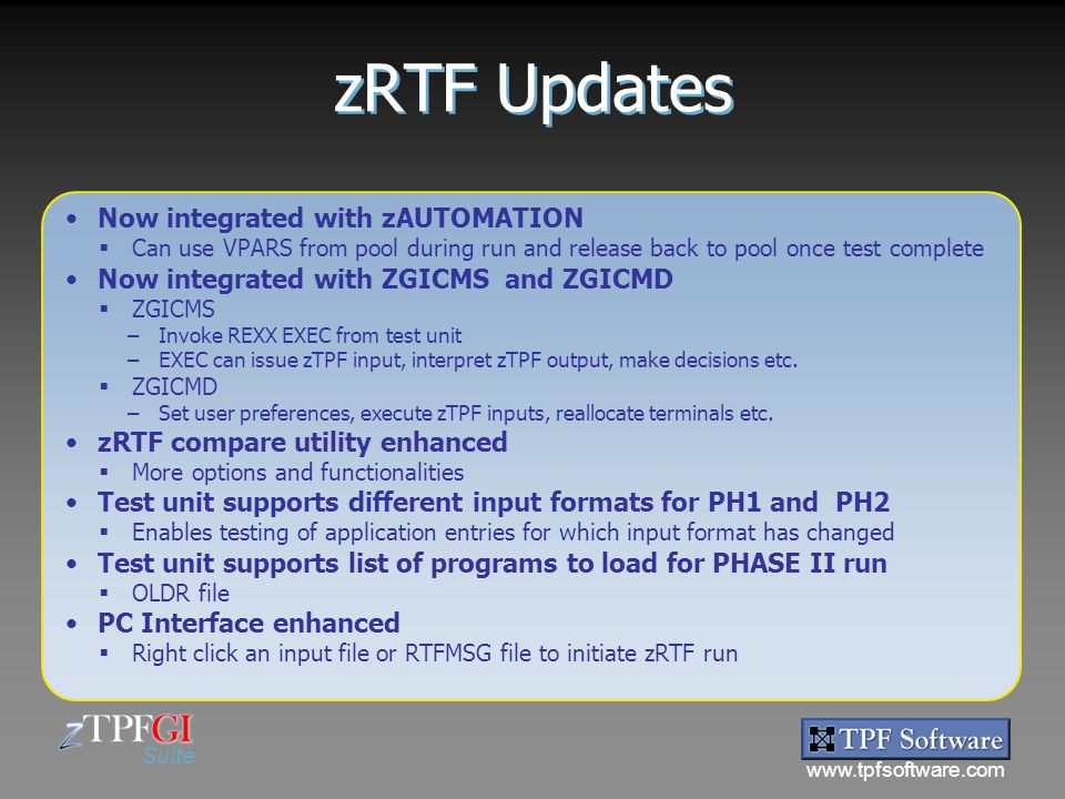 zRTF Updates Now integrated with zAUTOMATION