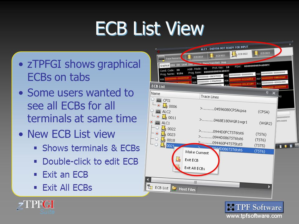 ECB List View zTPFGI shows graphical ECBs on tabs