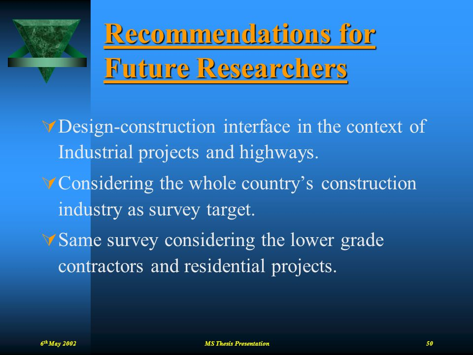 Recommendations for Future Researchers