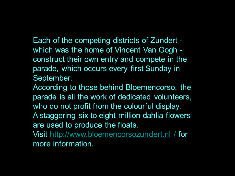 Each of the competing districts of Zundert - which was the home of Vincent Van Gogh - construct their own entry and compete in the parade, which occurs every first Sunday in September.