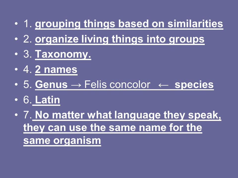 1. grouping things based on similarities