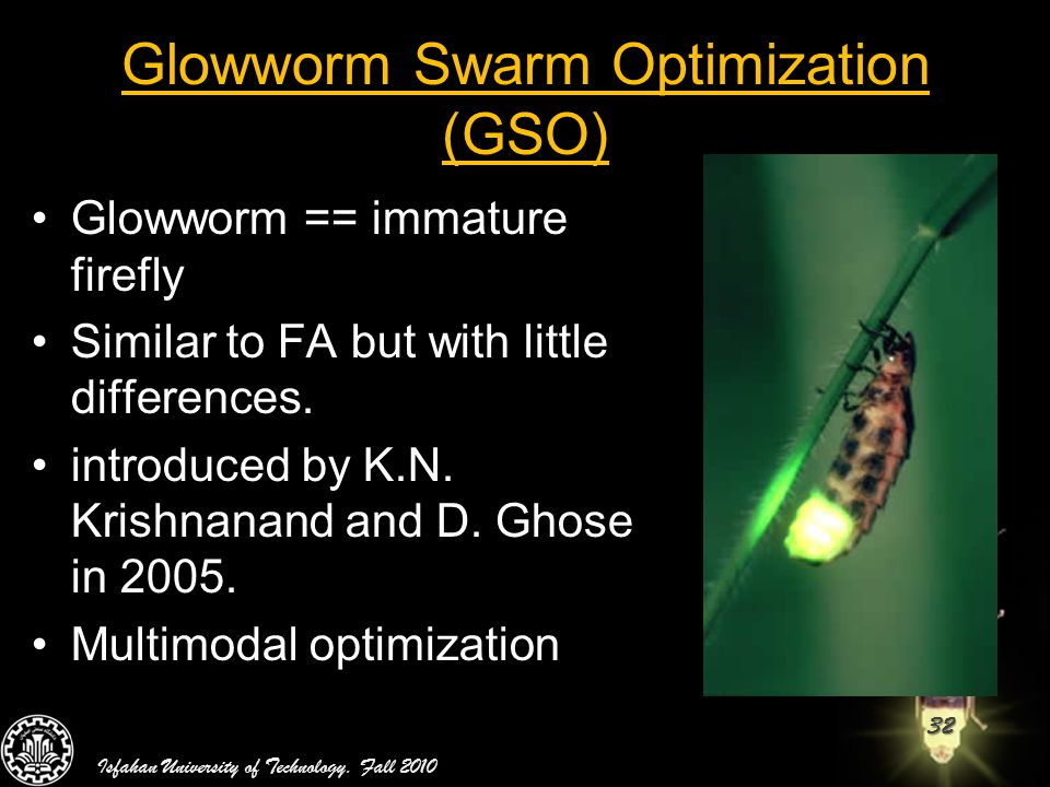 Glowworm Swarm Optimization (GSO)