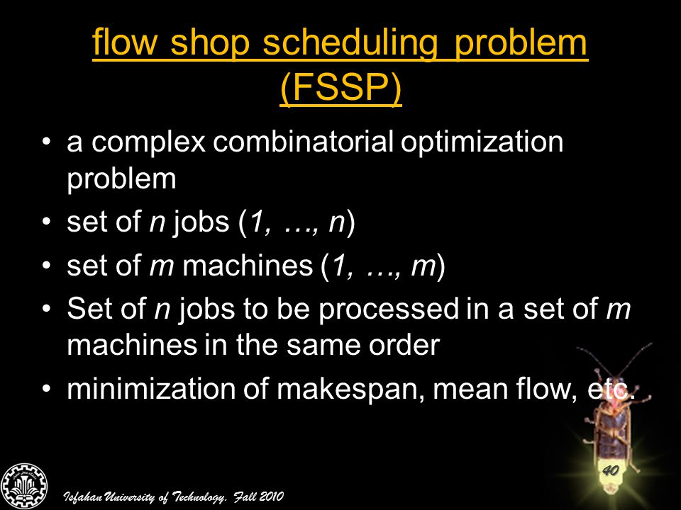 flow shop scheduling problem (FSSP)