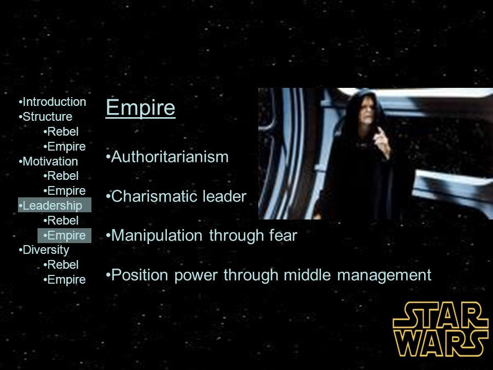 Empire Authoritarianism Charismatic leader Manipulation through fear