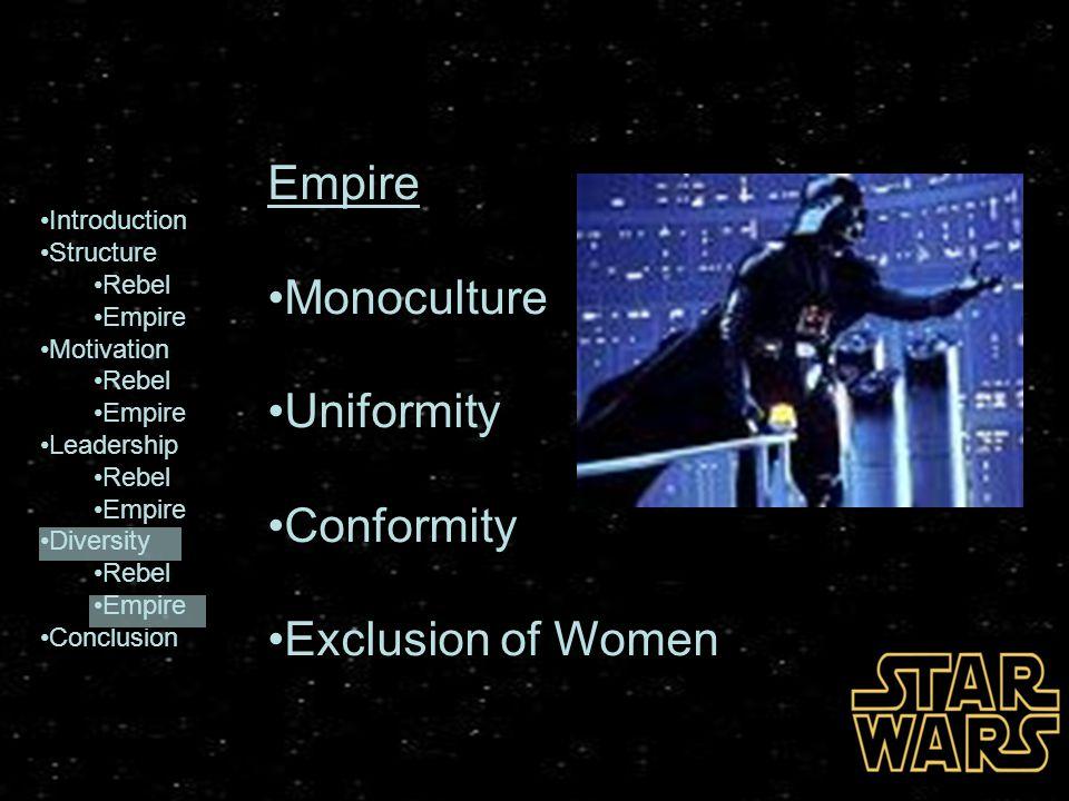 Empire Monoculture Uniformity Conformity Exclusion of Women