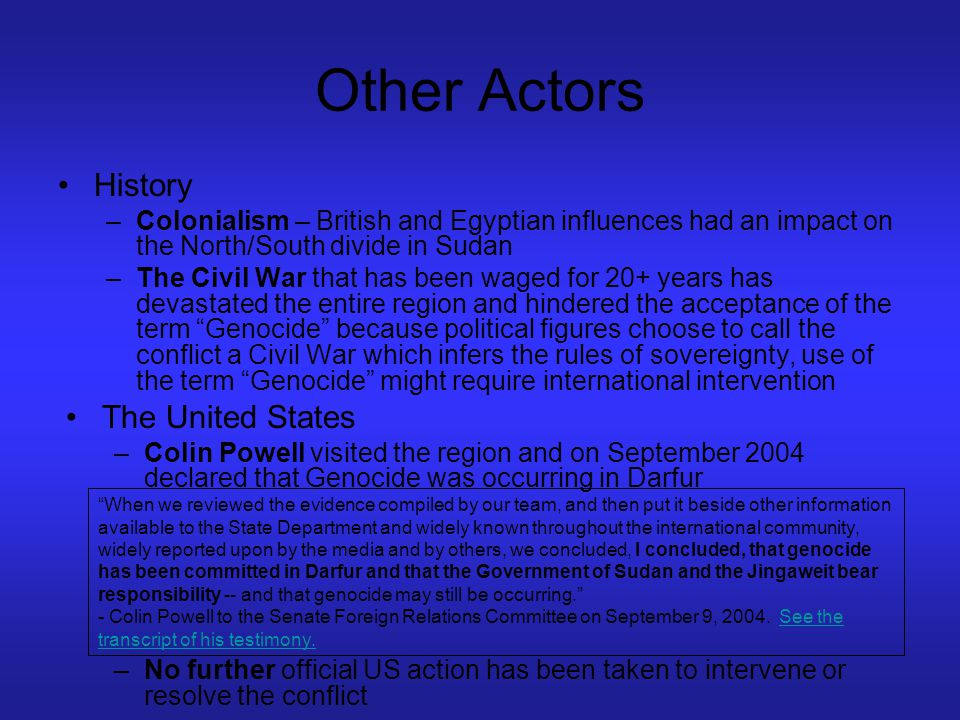 Other Actors History The United States