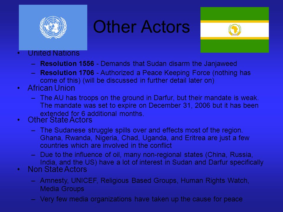 Other Actors United Nations African Union Other State Actors