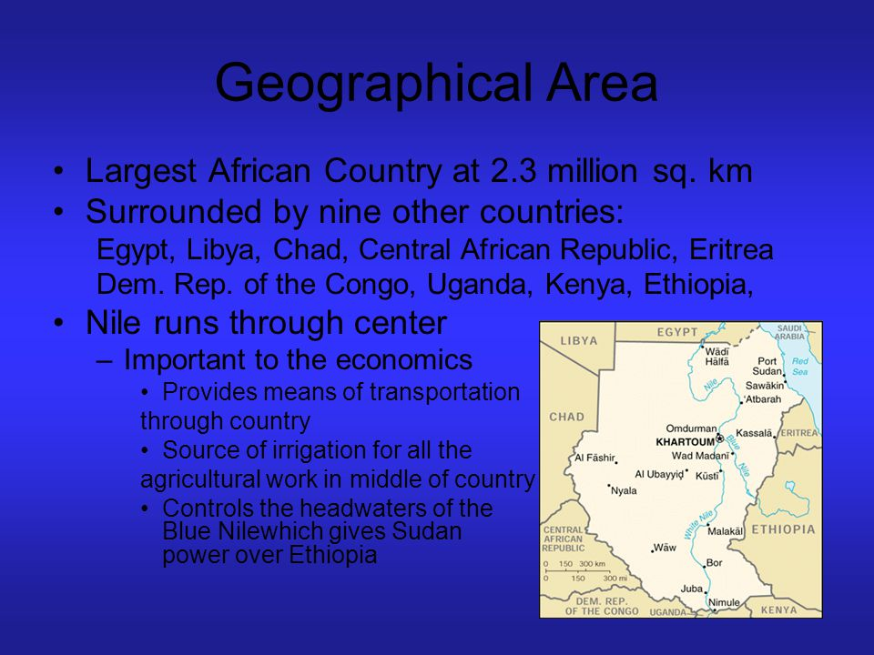 Geographical Area Largest African Country at 2.3 million sq. km