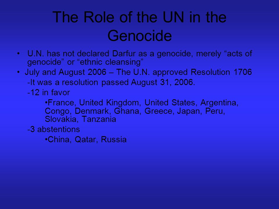 The Role of the UN in the Genocide