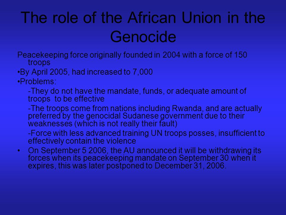 The role of the African Union in the Genocide