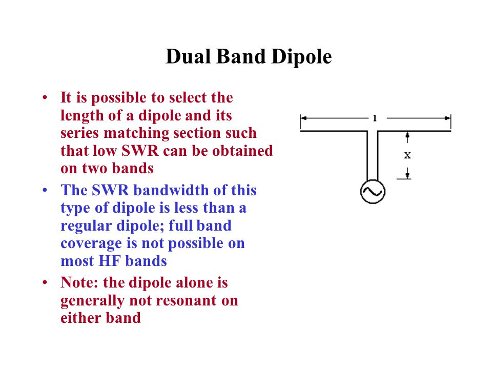 Dual Band Dipole It is possible to select the length of a dipole and its series matching section such that low SWR can be obtained on two bands.