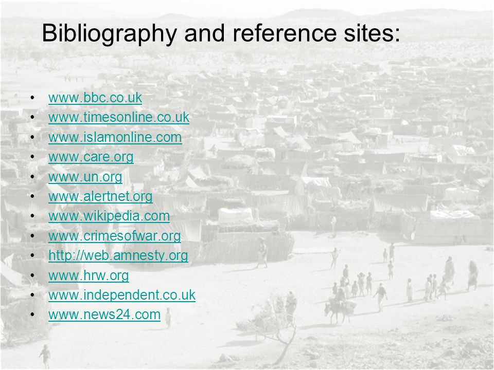 Bibliography and reference sites: