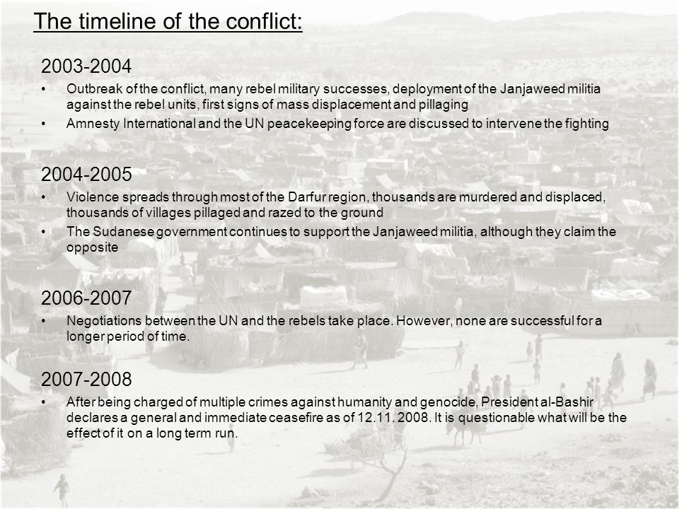 The timeline of the conflict: