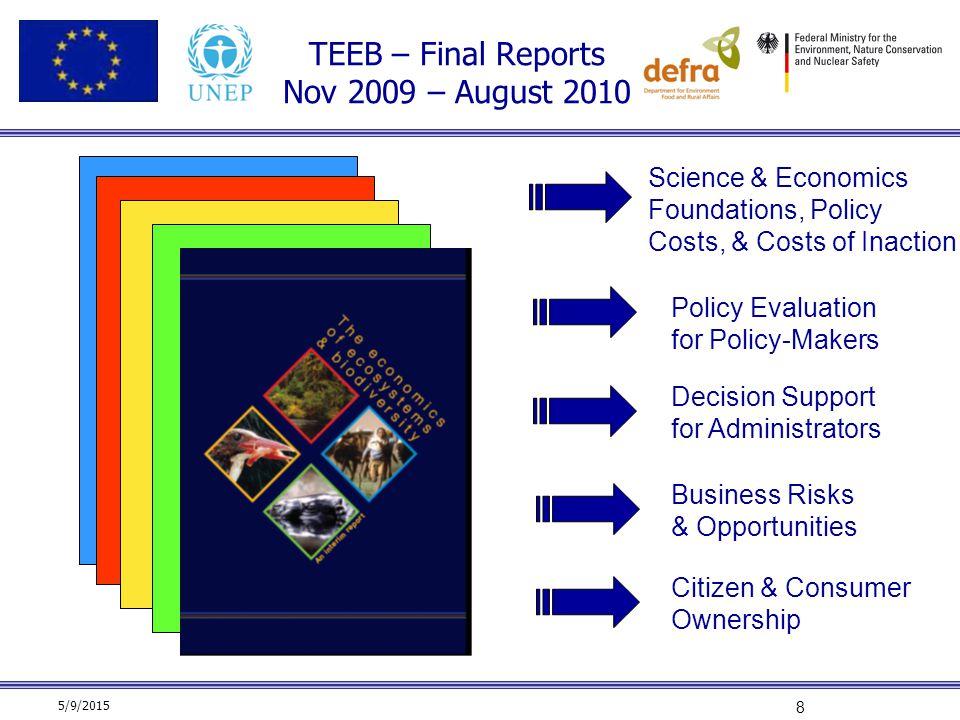 TEEB – Final Reports Nov 2009 – August 2010