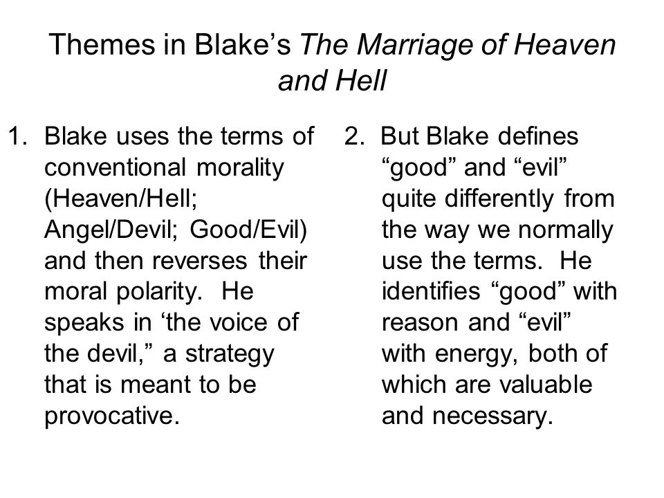 Themes in Blake's The Marriage of Heaven and Hell