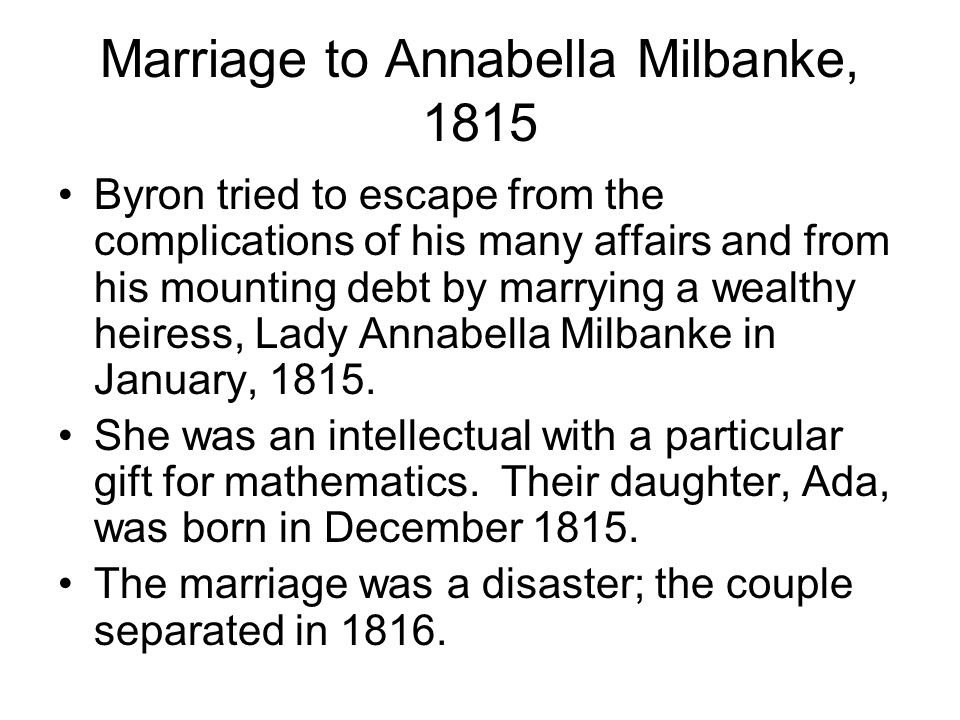 Marriage to Annabella Milbanke, 1815