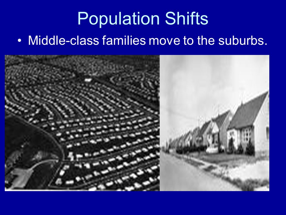 Population Shifts Middle-class families move to the suburbs.