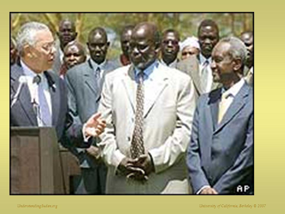 Powell, Garang and Taha during peace negotiations 2003