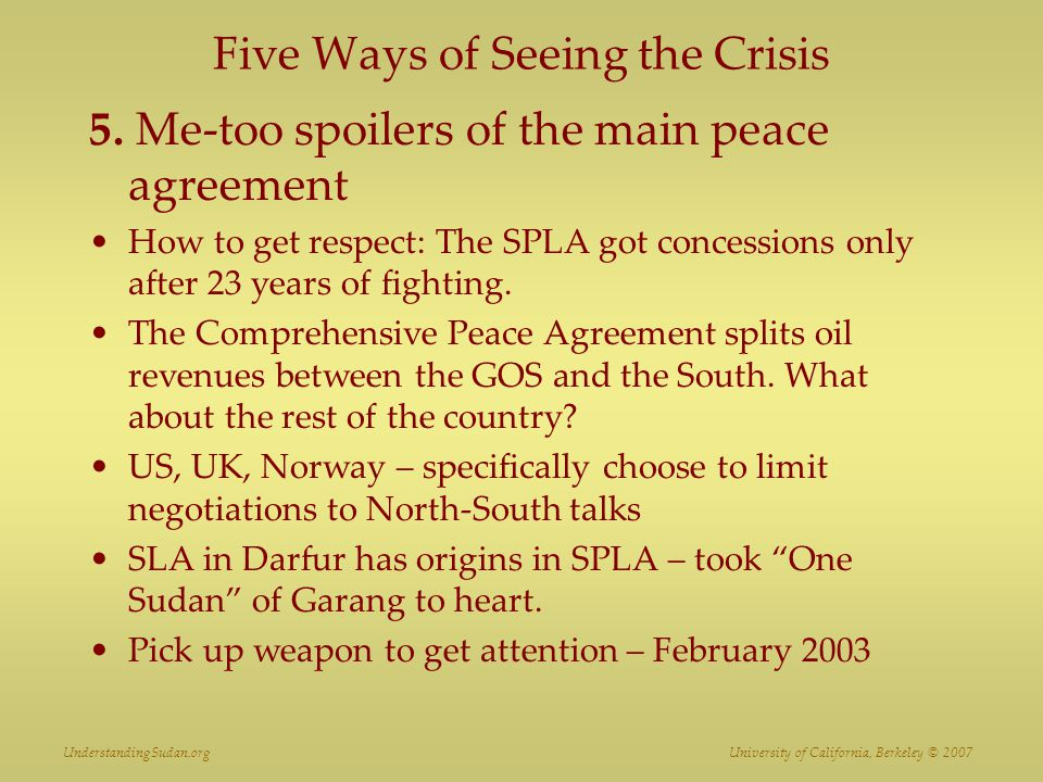 Five Ways of Seeing the Crisis