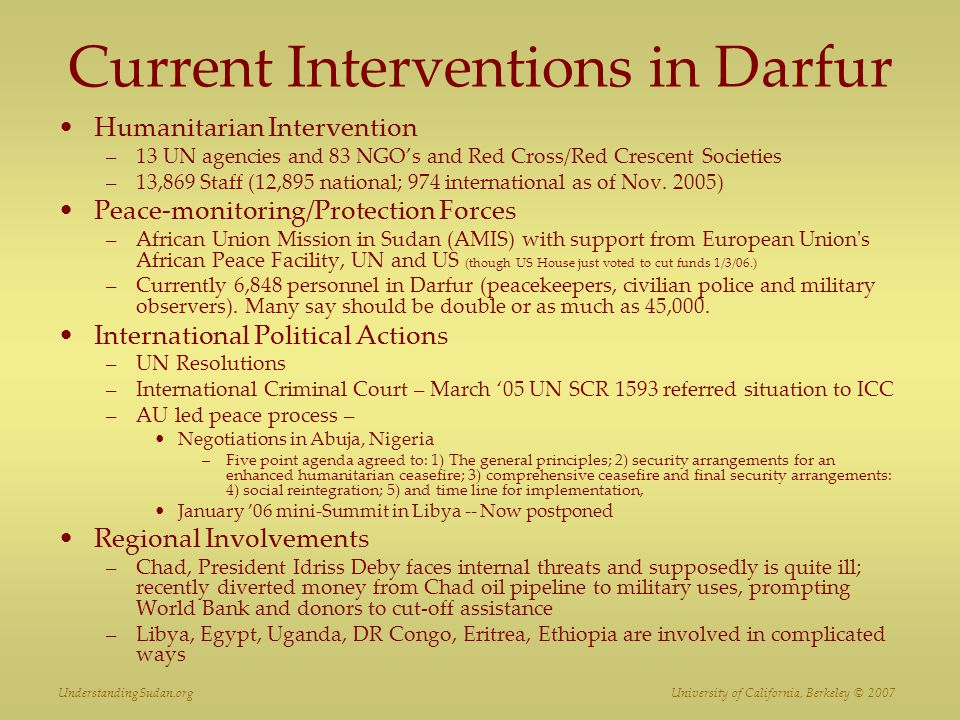 Current Interventions in Darfur