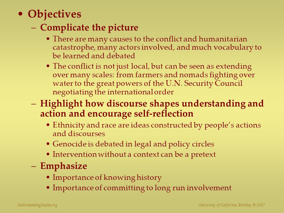 Objectives Complicate the picture