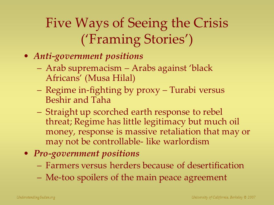 Five Ways of Seeing the Crisis ('Framing Stories')
