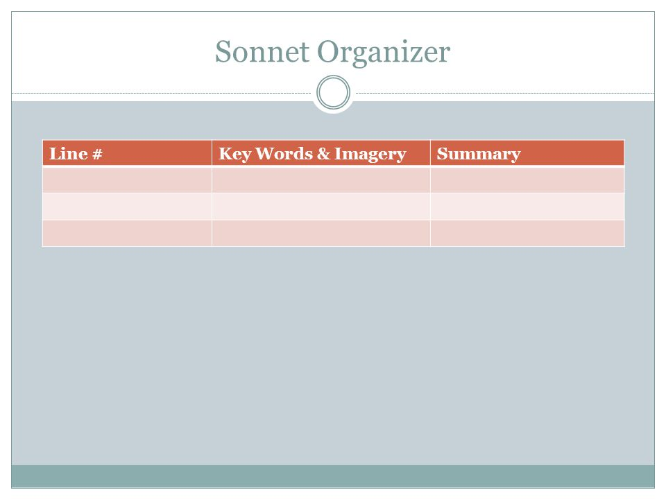 Sonnet Organizer Line # Key Words & Imagery Summary