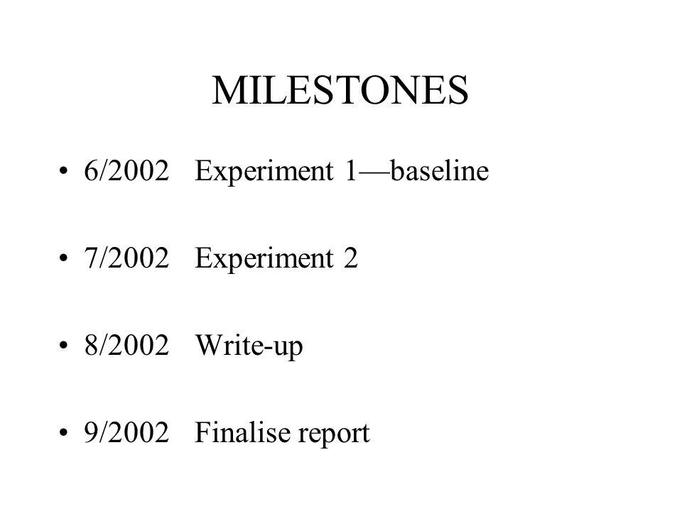 MILESTONES 6/2002 Experiment 1—baseline 7/2002 Experiment 2