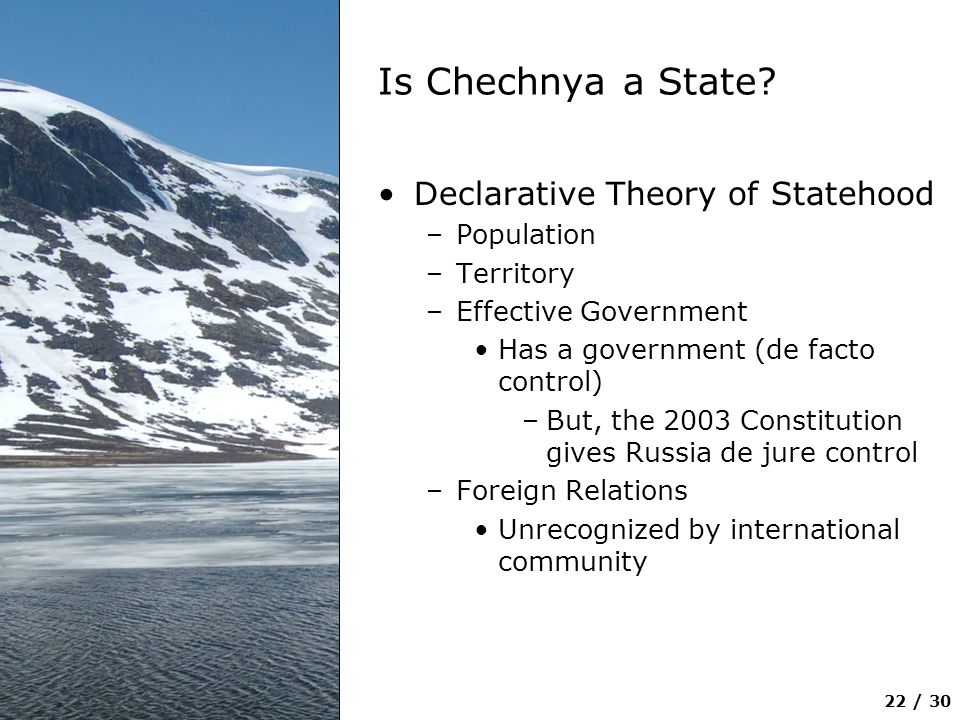 Is Chechnya a State Declarative Theory of Statehood Population