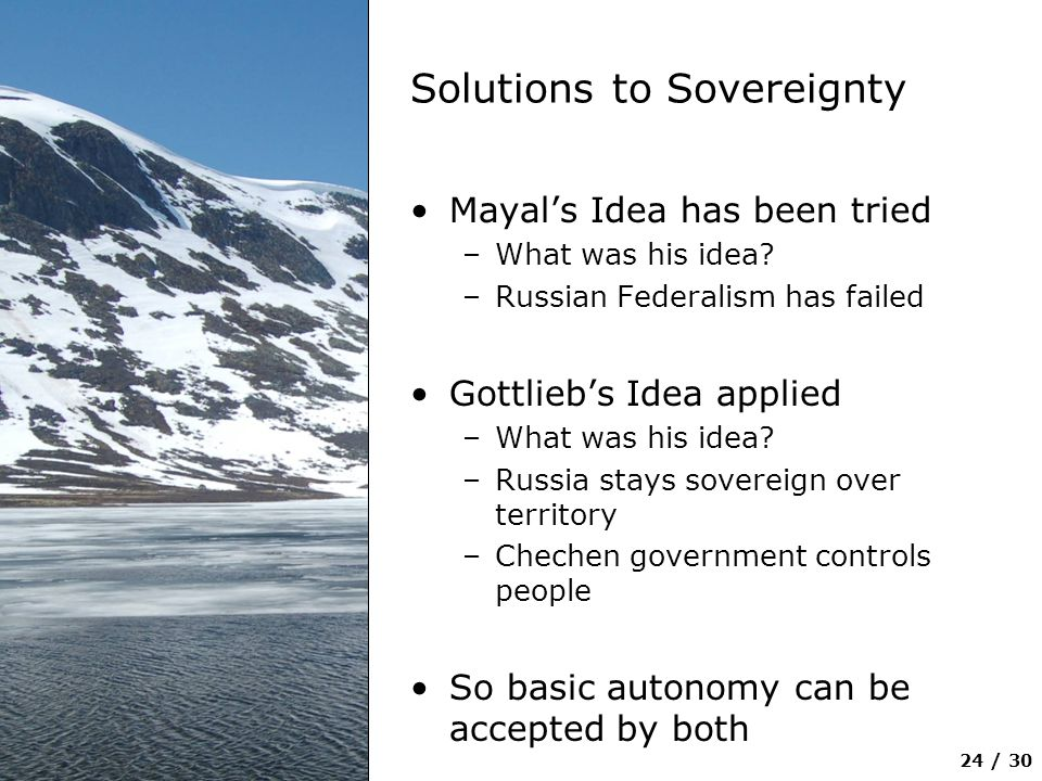 Solutions to Sovereignty