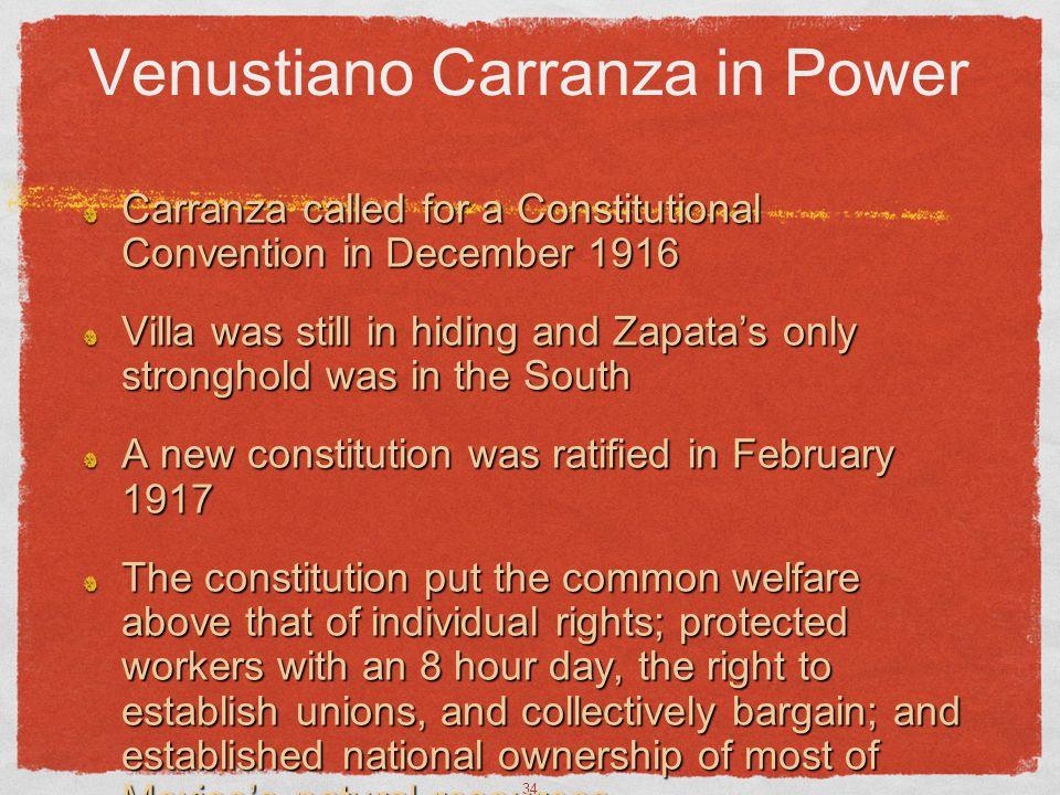 Venustiano Carranza in Power