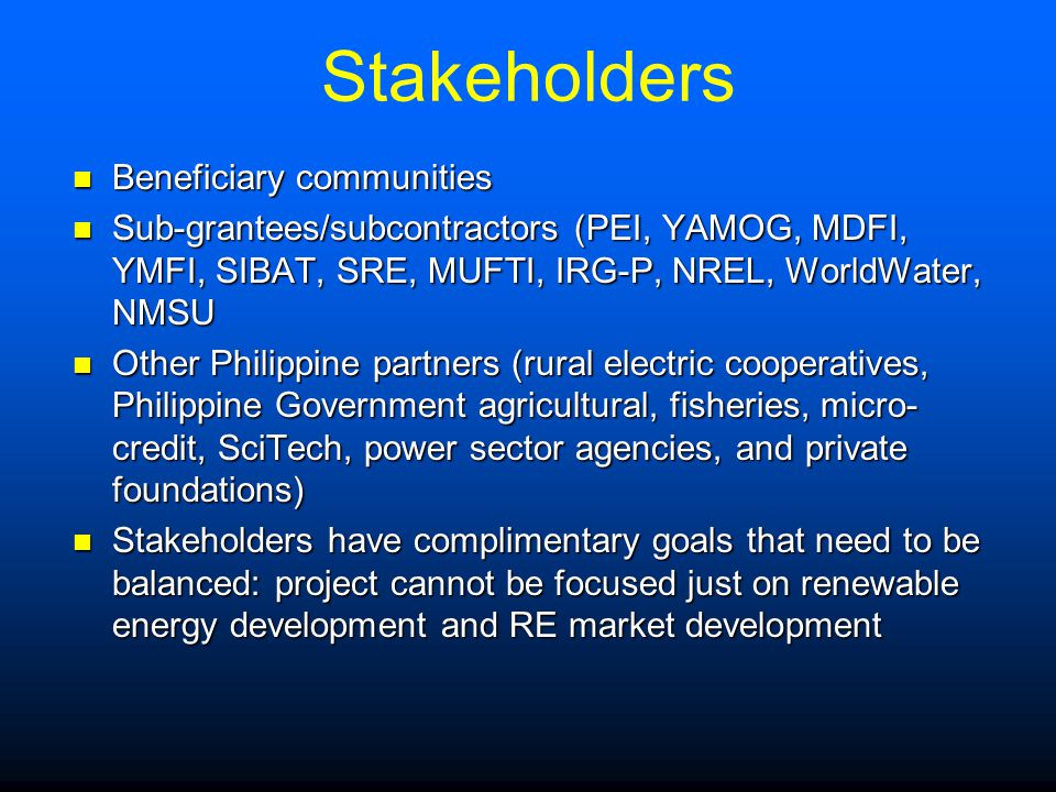 Stakeholders Beneficiary communities