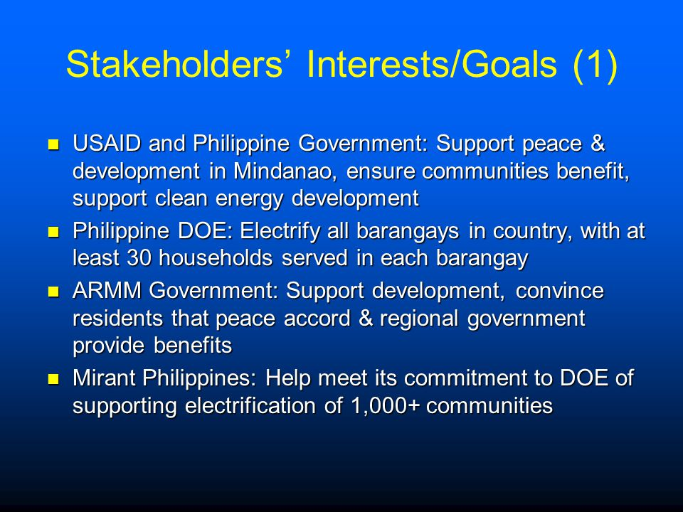 Stakeholders' Interests/Goals (1)