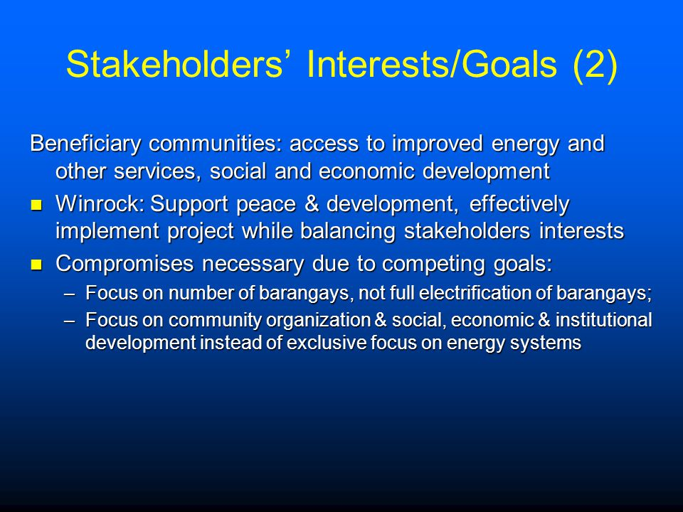 Stakeholders' Interests/Goals (2)