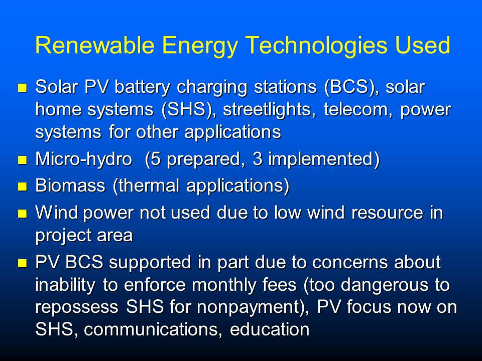 Renewable Energy Technologies Used