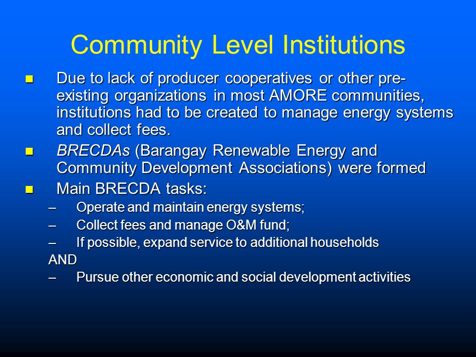 Community Level Institutions