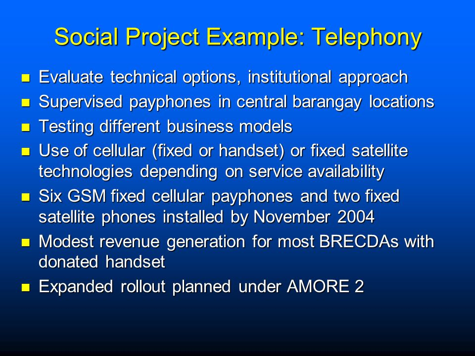 Social Project Example: Telephony