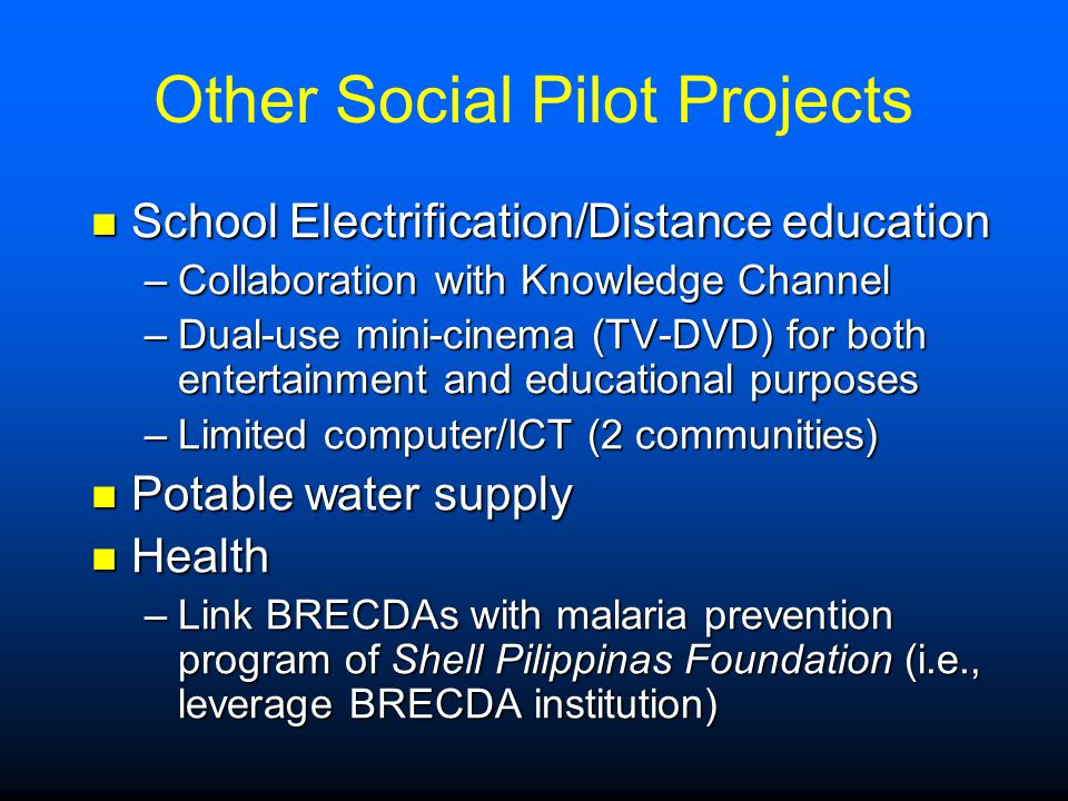 Other Social Pilot Projects