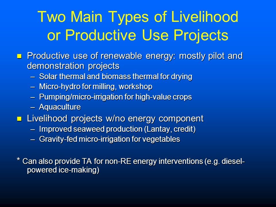 Two Main Types of Livelihood or Productive Use Projects