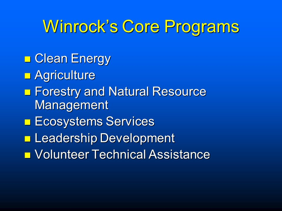 Winrock's Core Programs