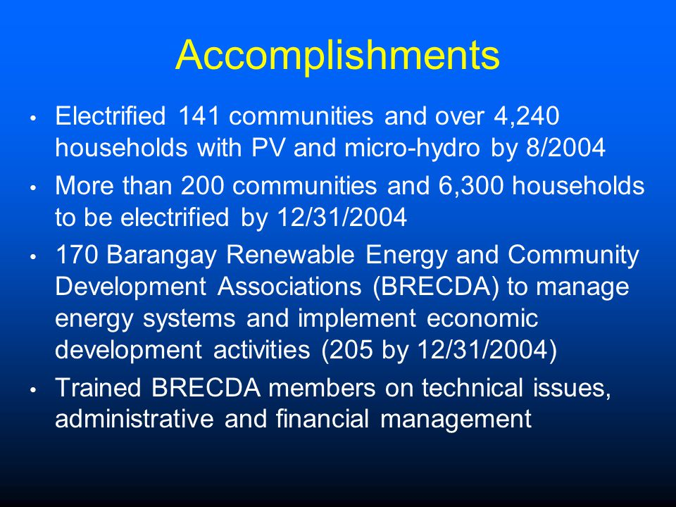 Accomplishments Electrified 141 communities and over 4,240 households with PV and micro-hydro by 8/2004.