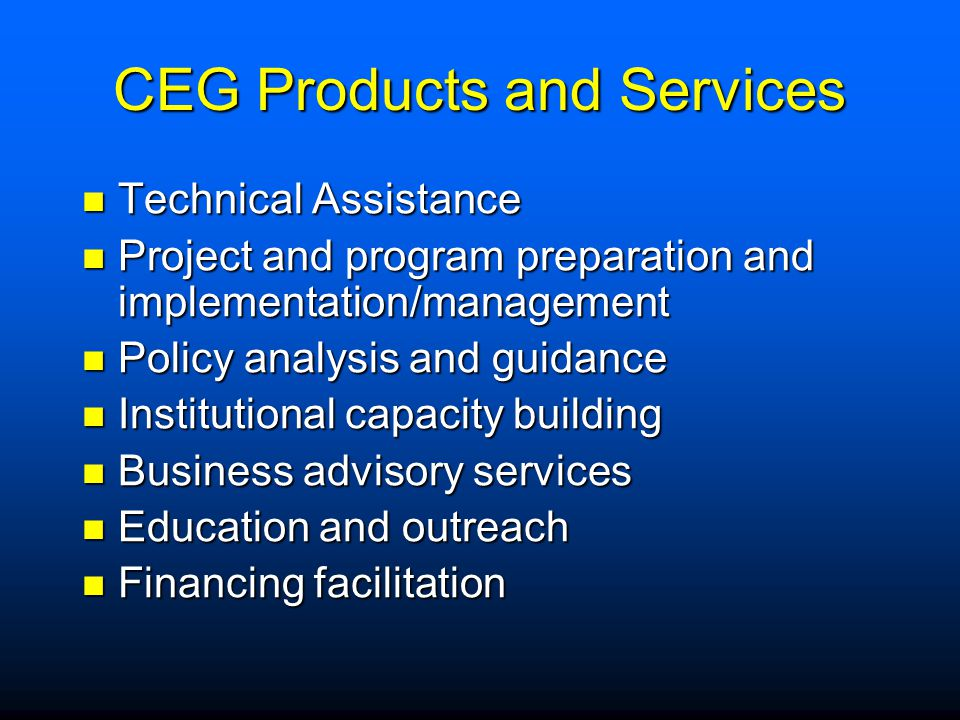 CEG Products and Services