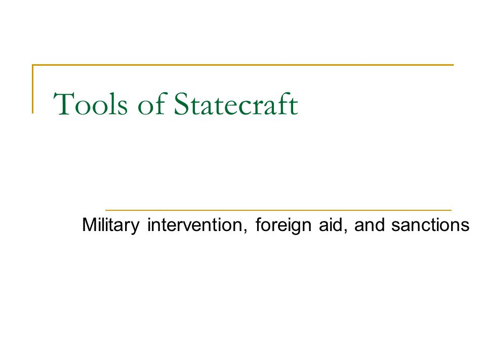Military intervention, foreign aid, and sanctions