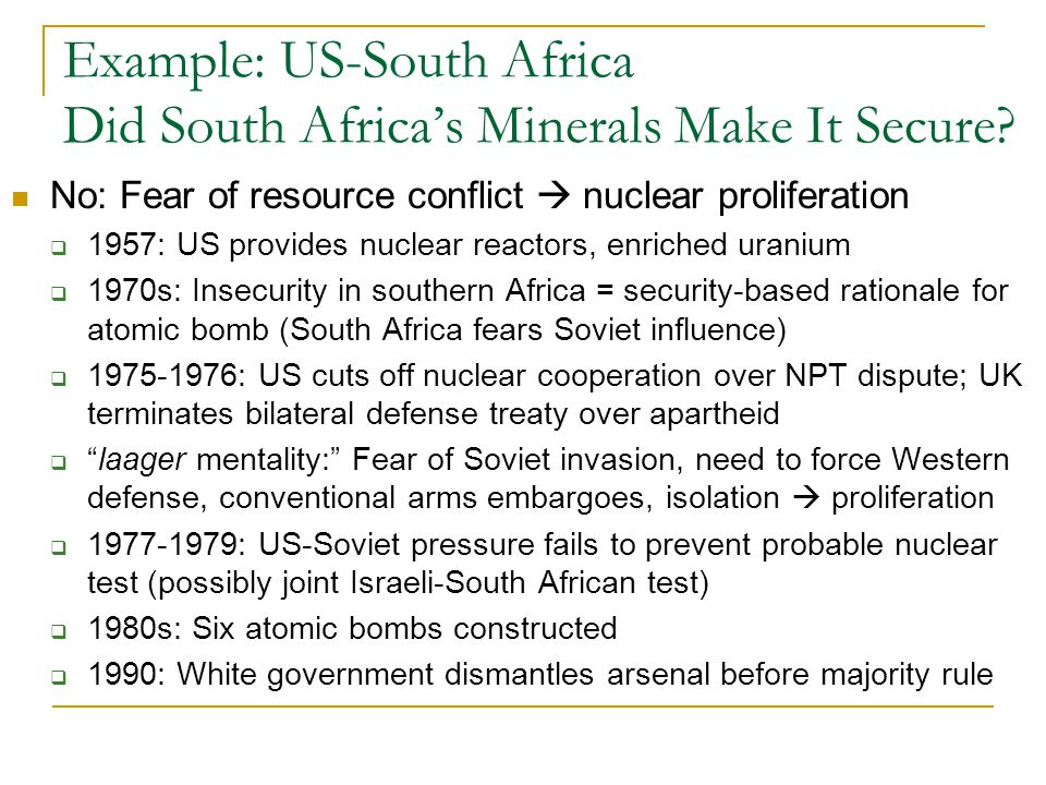 Example: US-South Africa Did South Africa's Minerals Make It Secure