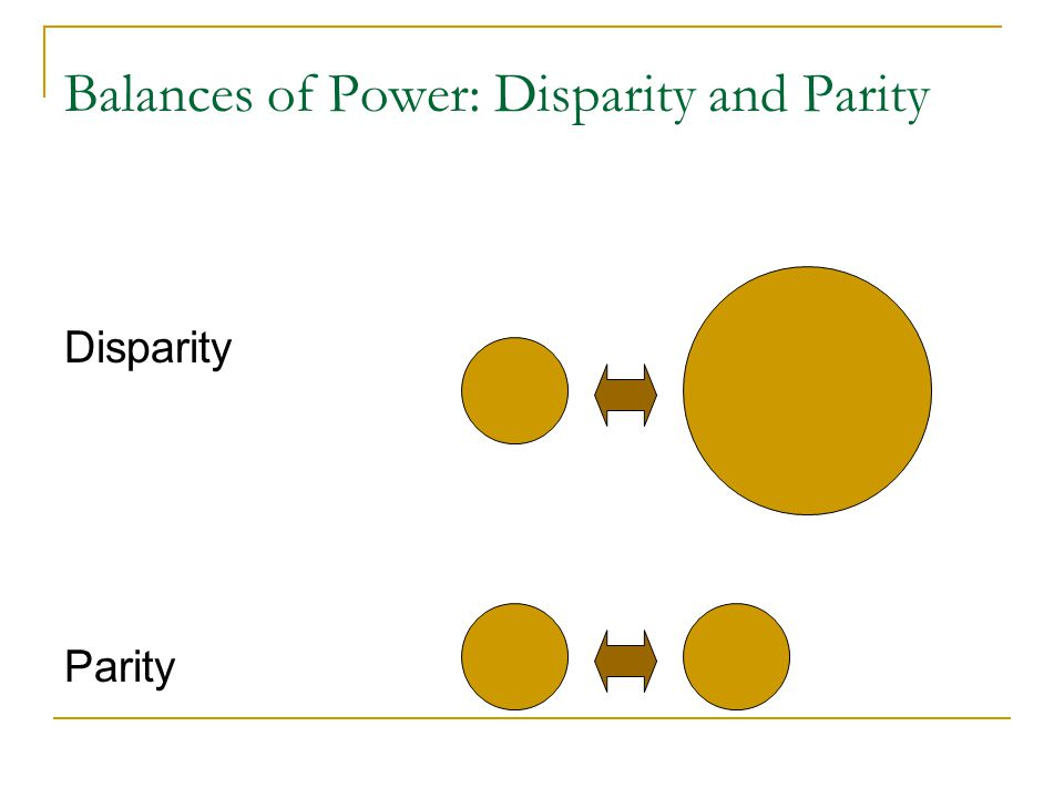 Balances of Power: Disparity and Parity