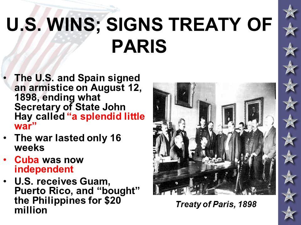 U.S. WINS; SIGNS TREATY OF PARIS